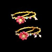 Les Nereide Paris Enamel Stud Earrings For Girls 925 Silver Needle Tree Branches Red Flower Gem