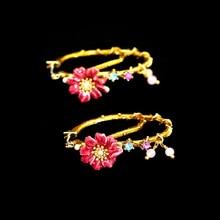 Les nereide Париж эмаль Серьги-гвоздики для Обувь для девочек 925 Серебряные иглы ветви деревьев красный цветок Gem круг Модные украшения