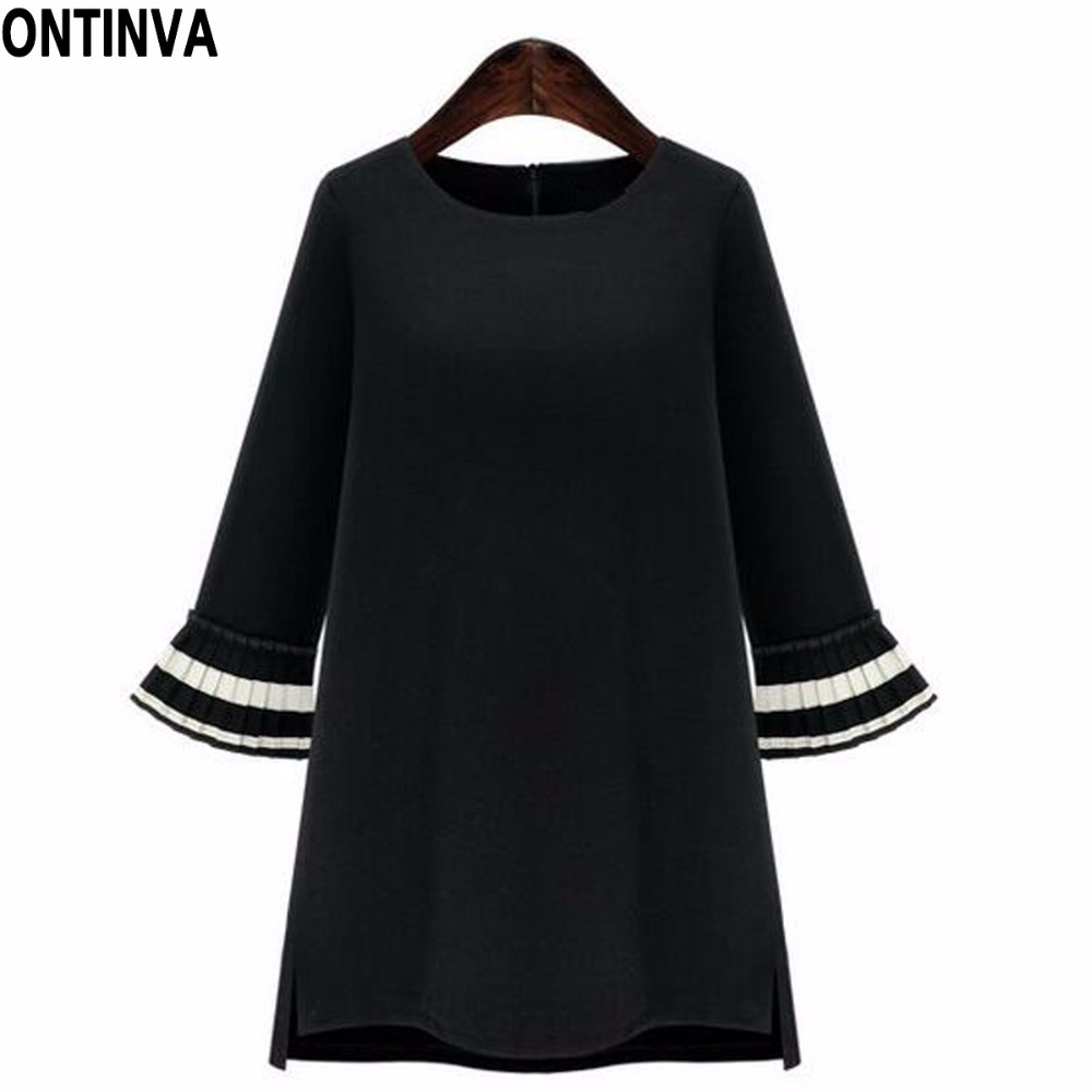 4611612576a23 Black Patchwork Oversize Winter Dress O Neck Petal Sleeve Wrist Sleeve  Robes with Zippers Plus Size Loose Casual Mini Dress 2018-in Dresses from  Women s ...