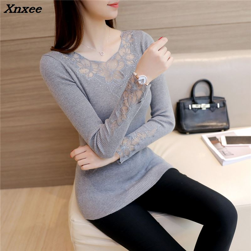 Xnxee 2018 women fashion sweater real shot, Korean version, fall new lace bottoming shirt