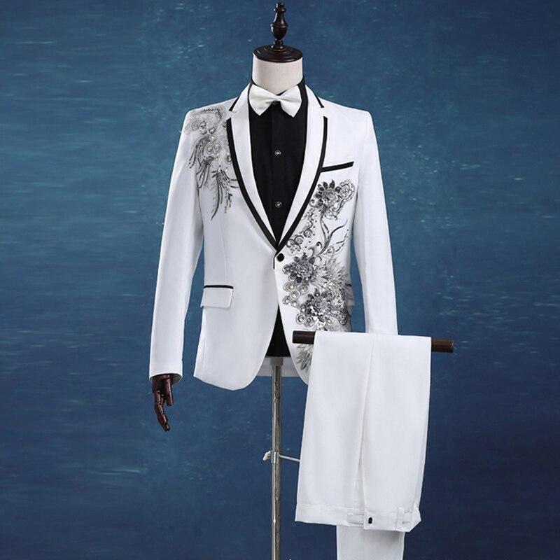 Wedding Groom Tuxedos Suit Men Fashion White Paillette