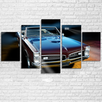 Modular Canvas HD Prints Pictures Modular Home Decor 5 Pieces Black Cool Luxury Sports Car Paintings Wall Art Posters Framework