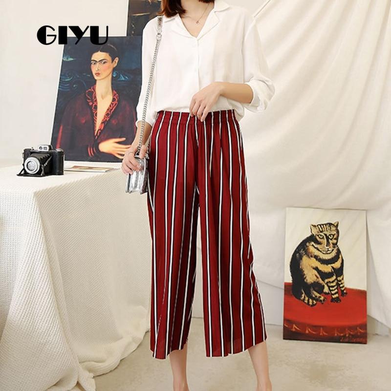 Giyu Striped Printing Women High Waist Calf-Length Pants Casual Wide Leg Pants Skinny Trousers Feminino Vaqueros Mujer