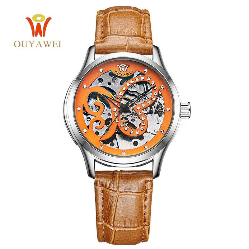 Luxury Brand Watch font b Women b font OUYAWEI Skeleton Automatic font b Mechanical b font