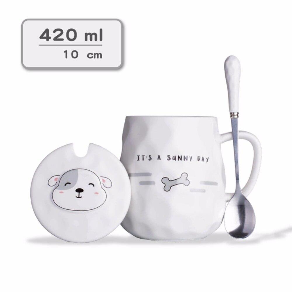 Handmade Ceramic cup Coffee Mugs Tea Cup Drinkware - Funny Puppies Mugs Lid and Spoon Creative Dairy Gift