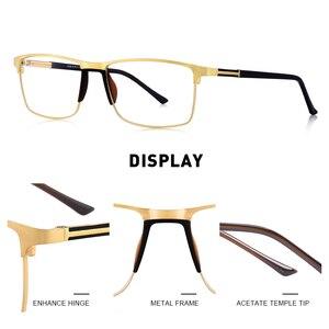 Image 2 - MERRYS גברים כיכר Ultralight טיטניום סגסוגת אופטי משקפיים מסגרת זכר עין קוצר ראיה מרשם משקפיים TR90 האף רפידות S2036
