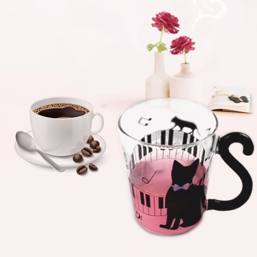 New Innovative Cute Cat Kitty Glass Mug Cup Tea Cup Milk Coffee Cup Dots Decoration Home Office Cup With Handle Wonderful Gift