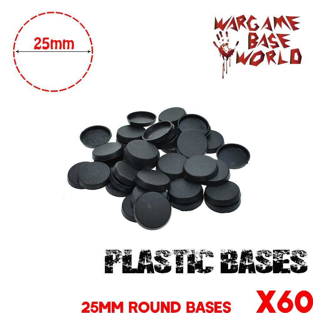Lot-Of-60-25mm-Round-Bases-For-Miniatures