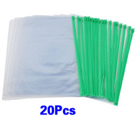 5pack Office Green Clear Size A4 Paper Slider Zip Folders PVC Files Bags 20PCS