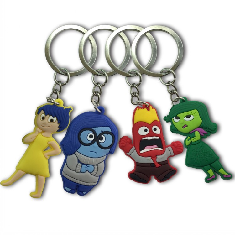 1PCS Inside Out PVC Cartoon Key Chain Mini Anime Figure Key Ring Kids Toy Pendant Keychain Key Holder Fashion Charms Trinket