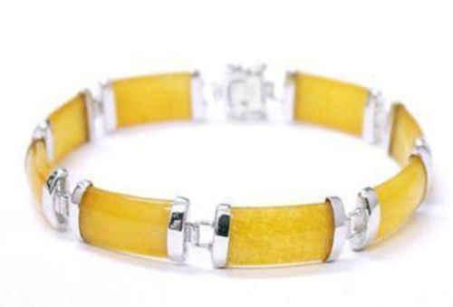"""ใหม่ Nice สีเหลืองขาย Jadeite chain ใหม่สร้อยข้อมือ 7.5 """"AAA > Dongguan สาวเครื่องประดับ Store จัดส่งฟรีหยก"""