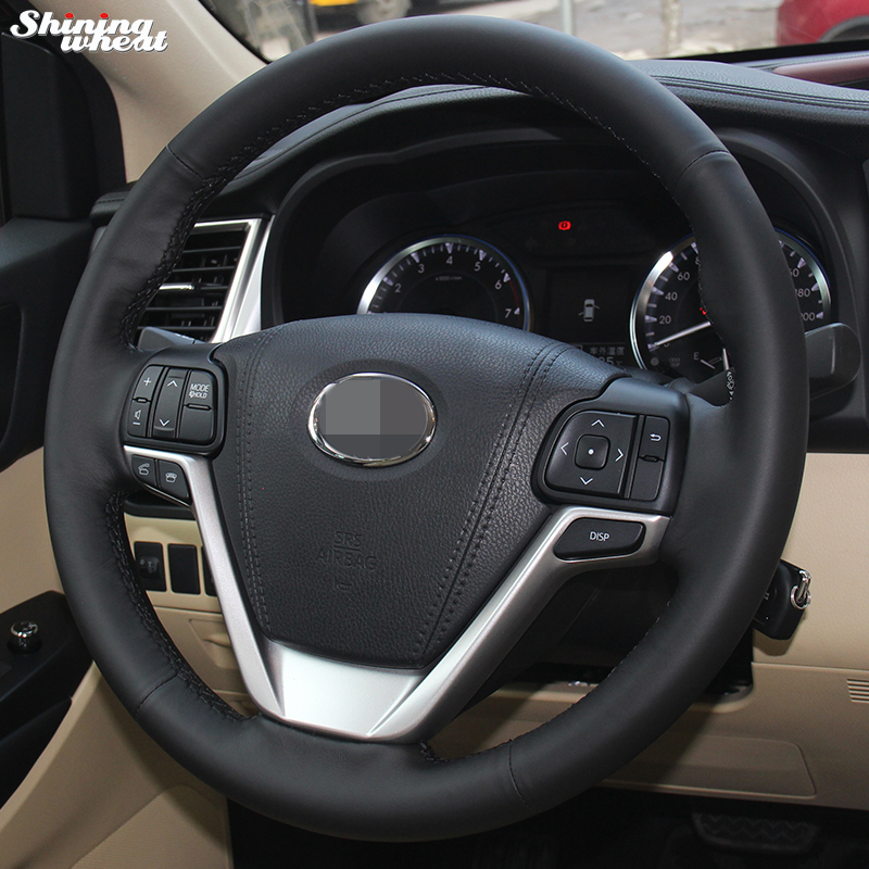 Shining wheat Hand stitched Black Leather Steering Wheel Cover for Toyota Highlander 2015