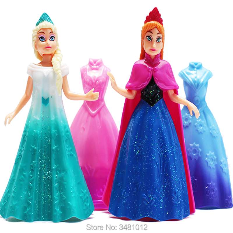 2pcs Snow Queen Elsa Anna Statue Magic Clip Princess Dress PVC Action Figures Princess Dolls Figurines Kids Girls Toys Gift