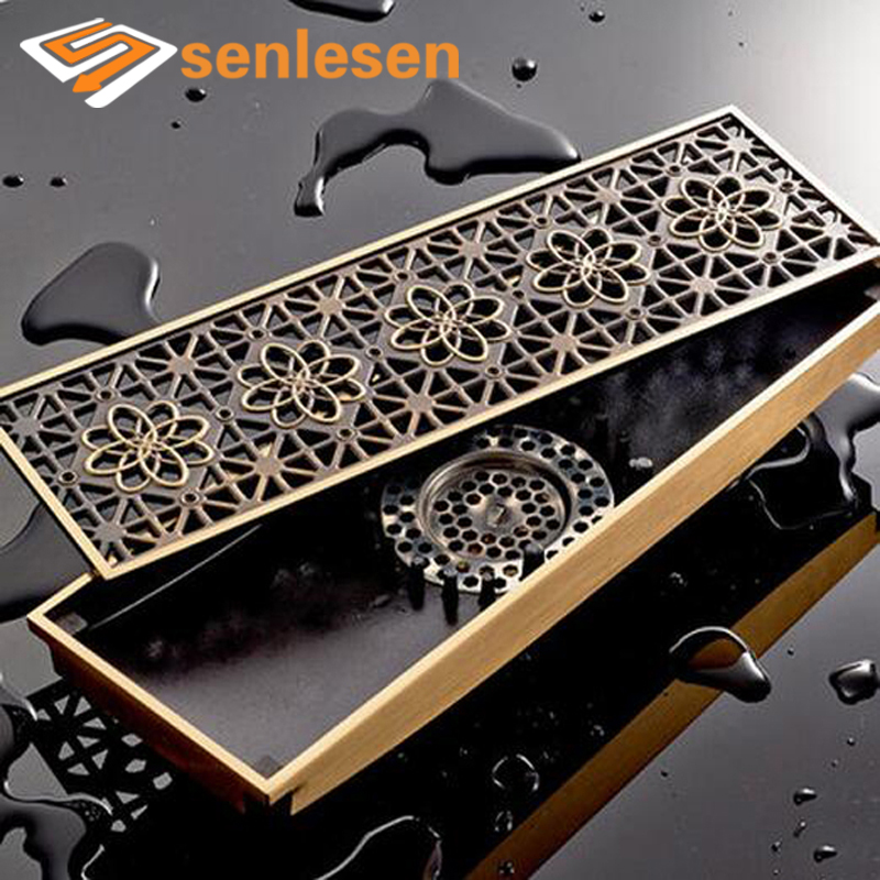 Wholesale And Retail Flower Carved Antique Brass Square Floor Drainer Bathroom Shower Grate Waste Bathroom Floor Filler brass square antique bronze bathroom floor drain waste grate shower drainer 100 100mm