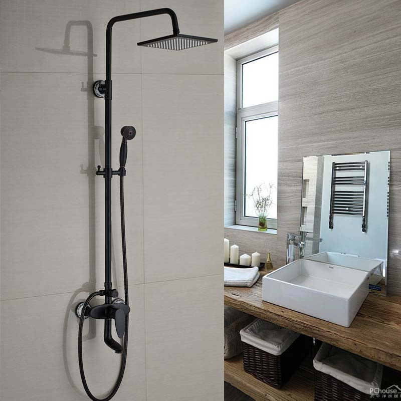 Luxury Oil Rubbed Bronze Shower Wall Mount Bath Shower Mixers with Handshower Swivel Tub Spout