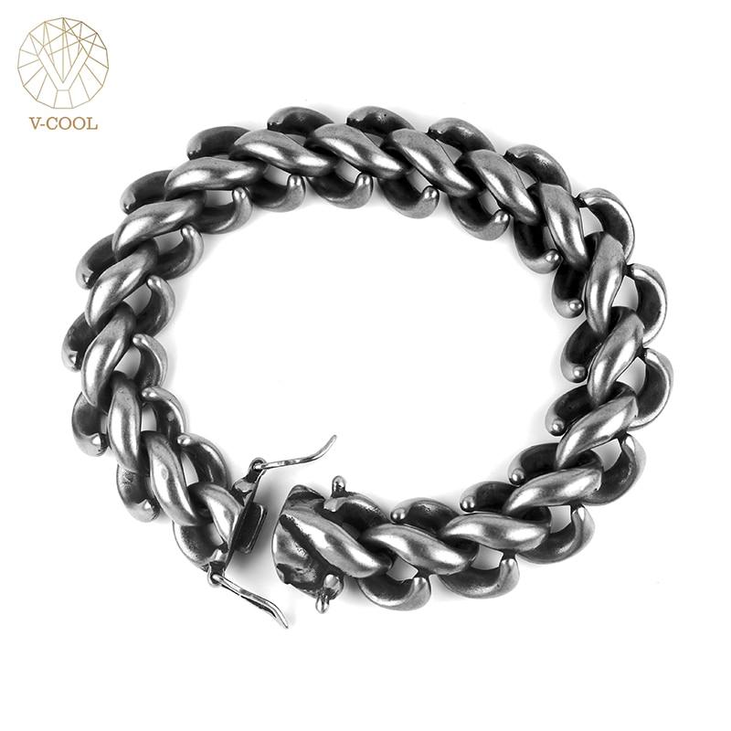 Freeshipping Personalized Rock Roll Stainless Steel Women Link Chain Bracelet Men Punk Biker Motor Hand Charm Bracelets VB635