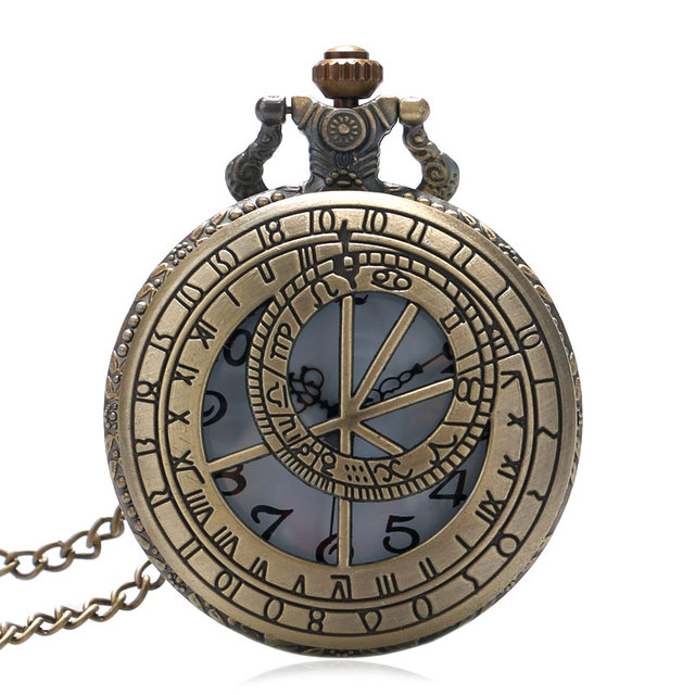 Bronze Vintage Hollow Pocket Watch The Prague Astronomical Clock Style Men Women