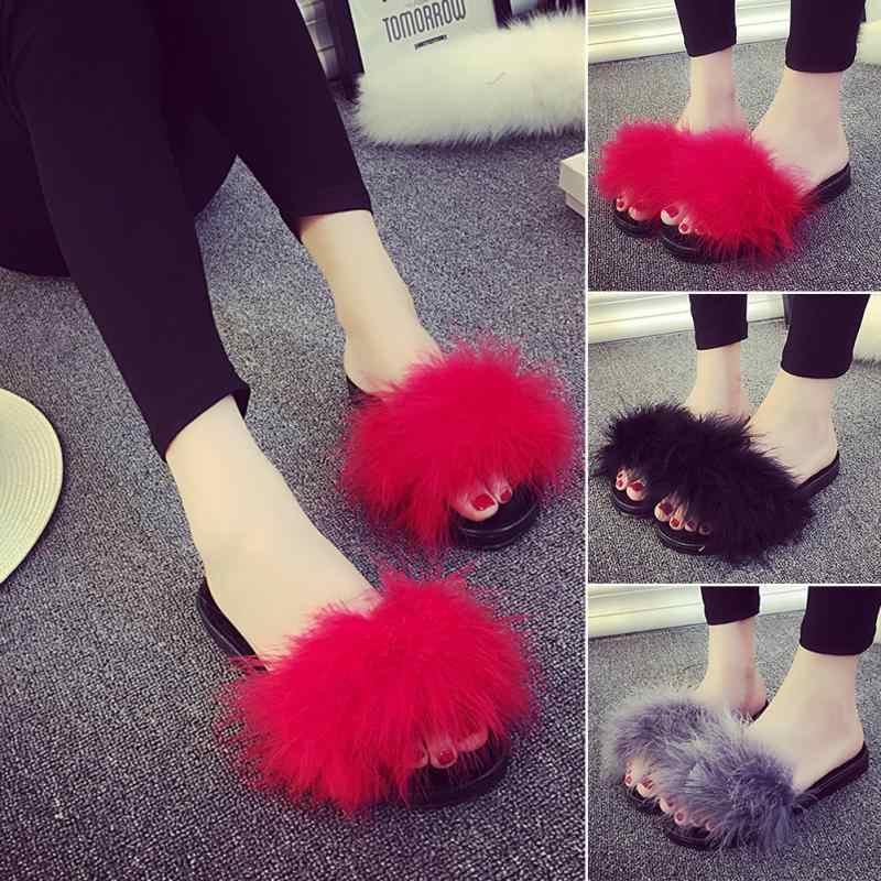 9b59979e08b ... New Fur Furry Slide Sweet Feather Thick Bottom Beach Female Sandals  Hair Flip Flops Women Home ...