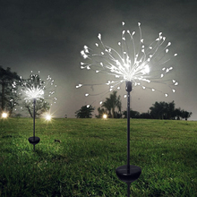 2pcs 90 led solar light Star shape and snowflake dandelion lawn  grass fireworks lamp outdoor garden lights
