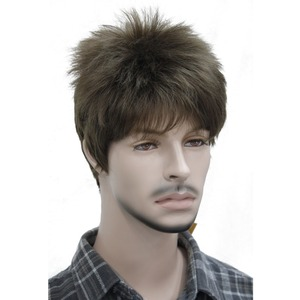 Image 4 - StrongBeauty Mens wig Natural Black/Brown Short Straight Hair Synthetic Full Wigs 7 Color