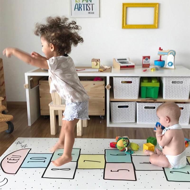 Enfants plancher antidérapant jeux tapis garçons filles chambre étage sautant grille numérique dames tapis tapis bébé ramper salle décor jeu tapis - 2