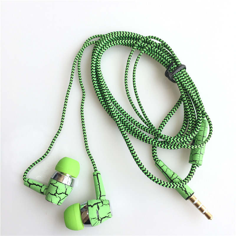 Sports Music Earphones Ice Cracks Earbuds Weaving Cloth Rope Earpiece with Microphone Stereo Earphones For i Samsung Xiaomi magnetic attraction bluetooth earphone headset waterproof sports 4.2
