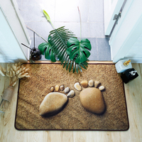 Modern Simple Style Washable Non slip Rug 3D Footprints Pattern Mat for Hallway Bedroom Living Room Toilet