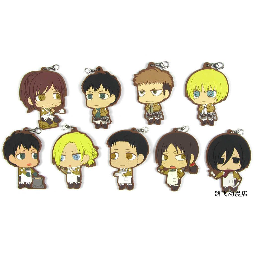 Titan Aksiyon Figürü Anime Modeli Mikasa Ackerman Armin Arlert Jean Kirschstein Ymir Kauçuk Anahtarlık Anahtarlık Kolye