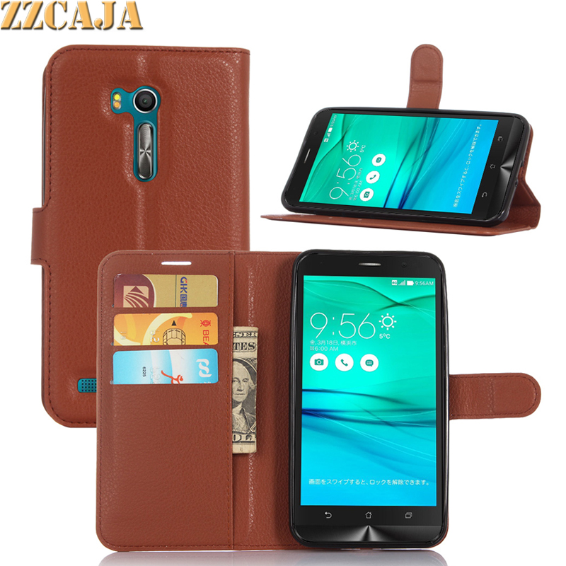 ZZCAJA For ASUS ZenFone Go TV ZB551KL Case Pu Leather Wallet Card Slot Flip Stand Cover & Soft TPU Frame Phone Skin Shell