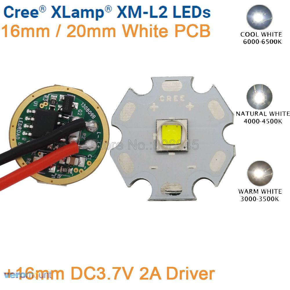 цена на Cree XML2 XM-L2 T6 10W High Power LED Emitter Cool White Neutral White Warm White 16mm 20mm White PCB+ DC3.7V 2A Dimmable Driver