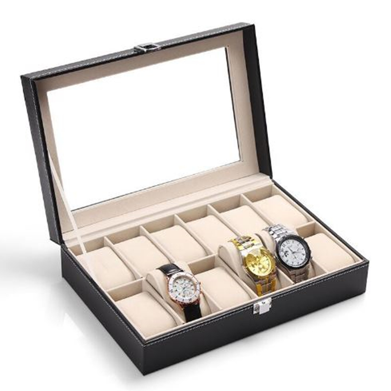 12 Grid Watch Boxes Black PU Leather Box Watch Display Wood Box Jewelry Caja Reloj Storage Holder Organizer Case Boite Montre цена 2017