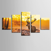 Classic Hot Sale elk series paintings 5 piece large canvas print wall art modular painting on decoration pictures /ZT-3-63