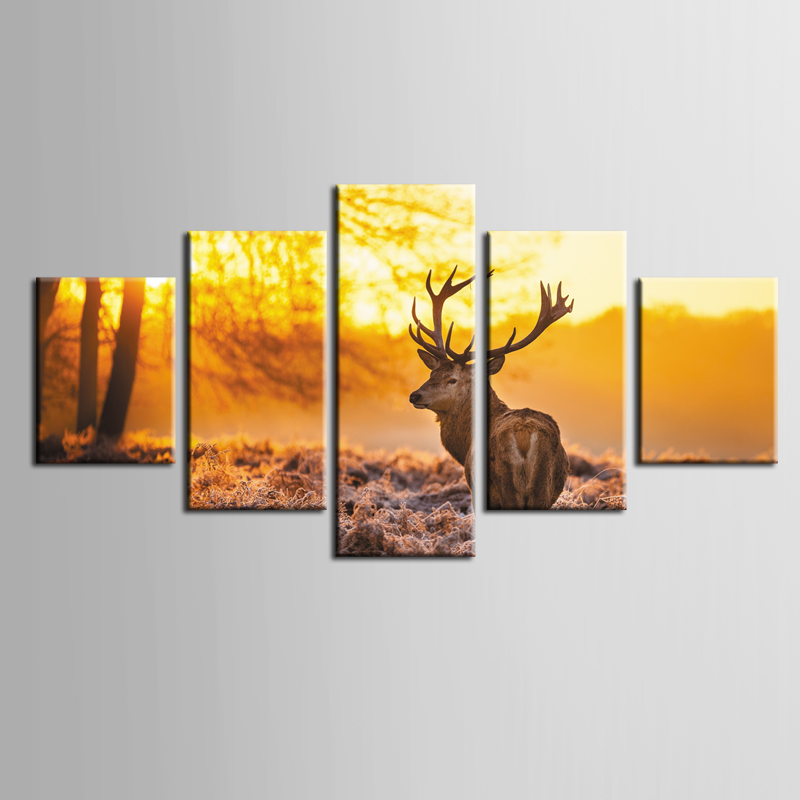 Classique Vente Chaude elk série peintures 5 pièce grande impression sur toile mur art peinture modulaire sur décoration photos/ZT-3-63