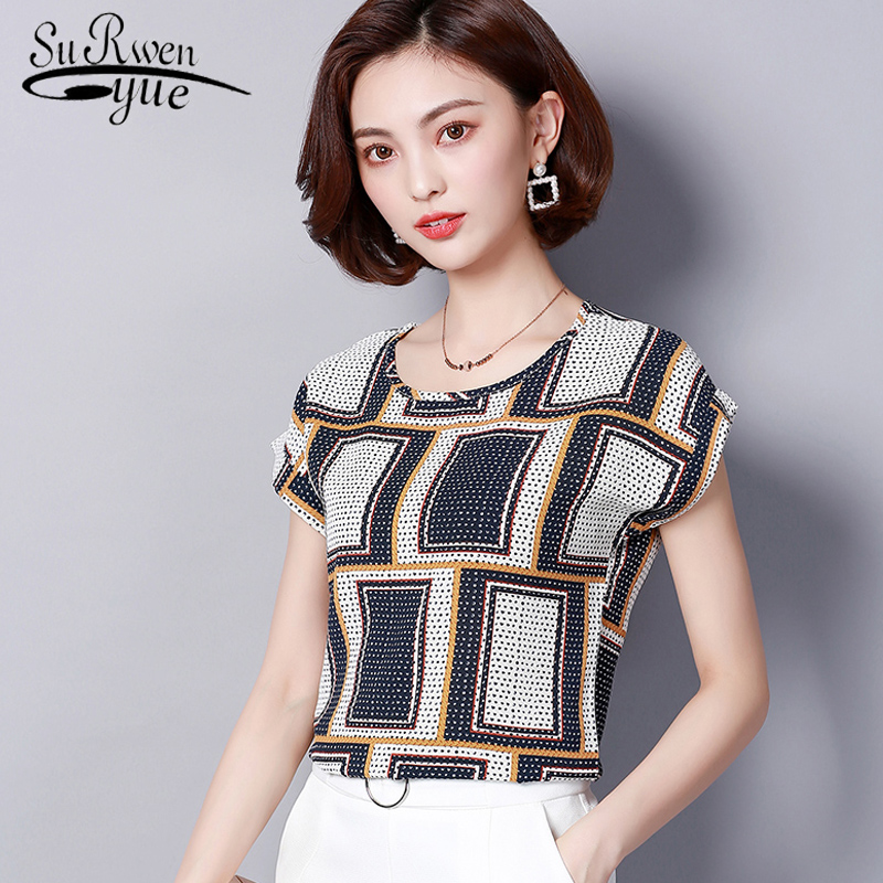 HTB1RGl6i25TBuNjSspmq6yDRVXae new 2018 summer short sleeve women's clothing fashion plus size 5XL Chiffon women blouse Shirt loose woemn's tops blusas 60A 30