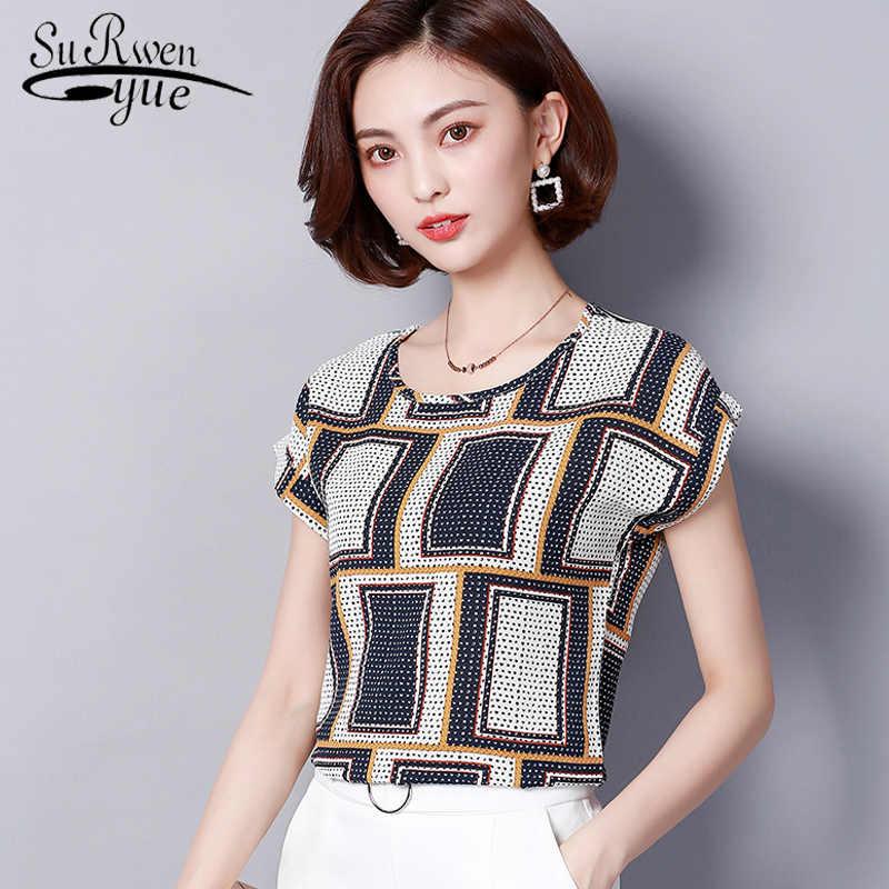 Chiffon blouse fashion 2019 summer plus size women tops O-neck short  sleeves print women s f11defc16f79