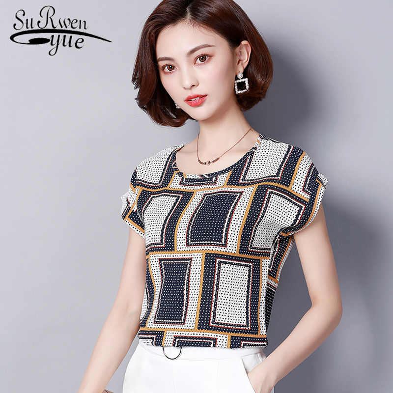 3b41a1d556a Модная блузка из шифона 2019 летние Большие размеры женские топы с круглым  вырезом и короткими рукавами