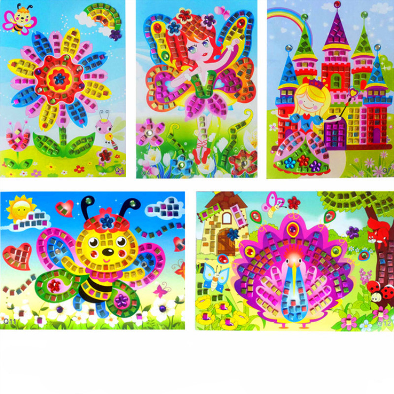 Handmade 3D Children Puzzle DIY Foam Stickers Art EVA Cartoon Animal Crystal 3D Sticker Creative Educational Toys For Kids