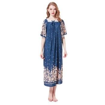 Camisón de algodón Modal de verano para mujer vestido de noche largo camisones cuello cuadrado ropa de dormir más tamaño vestido de noche pecho 142 cm
