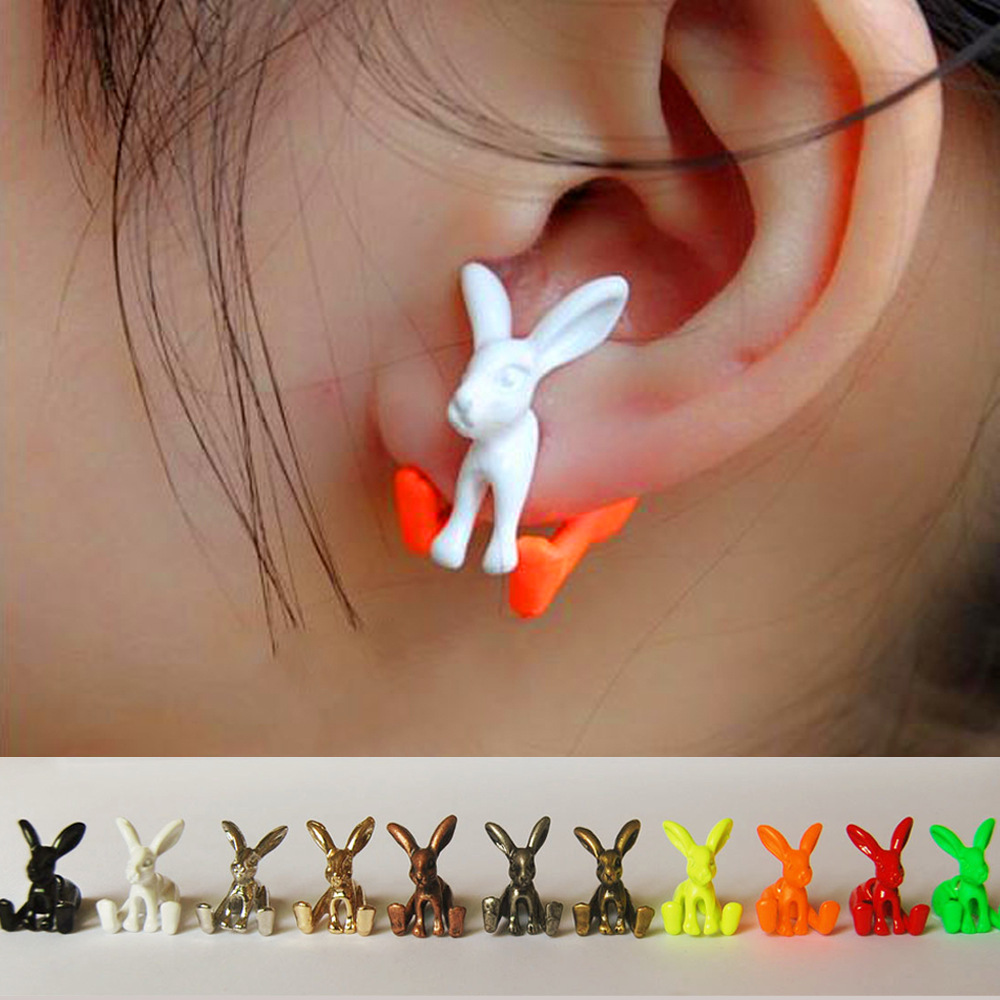 Han edition ROWKY lovely earrings stereo rabbit fashion personality special alloy wear harsh fluorescent color earrings
