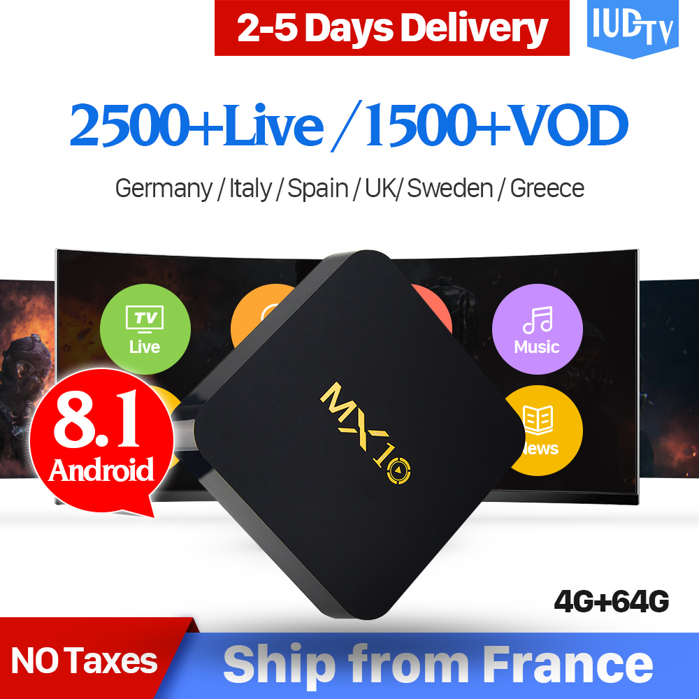 1 Year IPTV Spain Sweden Germany IP TV Box MX10 RK3328 Android 8 1 4+64G  USB3 0 Italy UK Greek Portugal French Turkey IUDTV