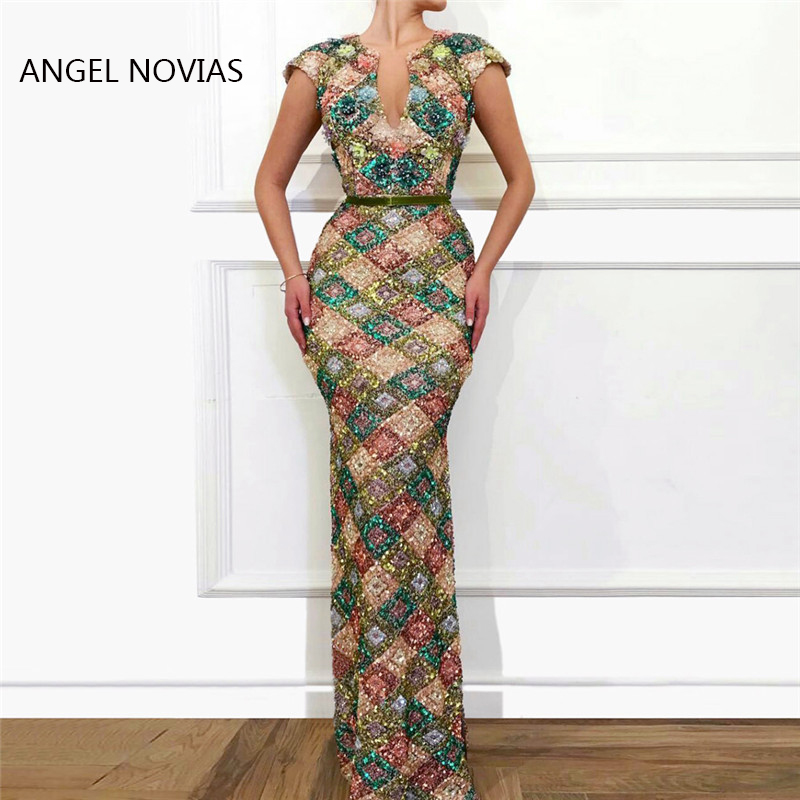 ANGEL NOVIAS Long Elegant Women Arabic Abendkleider Mermaid Sequins Lace   Evening     Dresses   2019 Vestido De Fiesta Largos De Noche