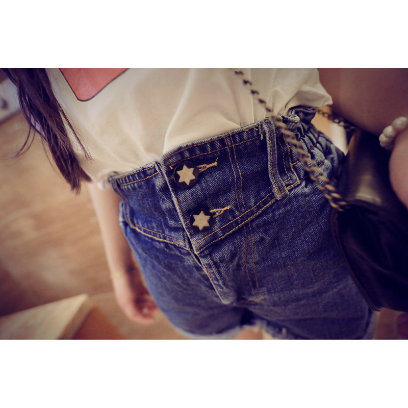 2015 Korean relaxed casual personality frayed denim shorts female top fashion high waist women jean - Fair Lady Closet store