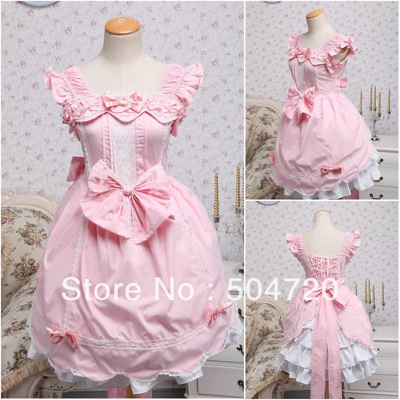 Custom madeV 1284 Pink Short sleeve cotton Sweet School Lolita Dress Maid's dress US6 26 XS 6XL