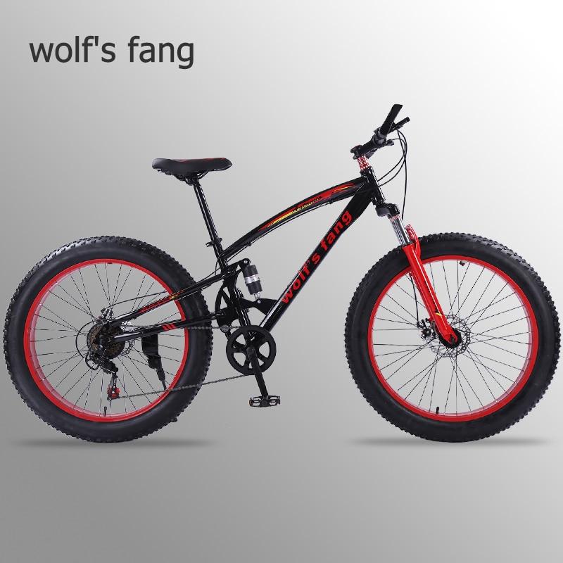 Lobo fang mountain bike 7/21/24 velocidade 26x4.0 bicicleta gordura da Mola da Forquilha da bicicleta neve bicicletas bicicleta de estrada Homem Freio A Disco Mecânico