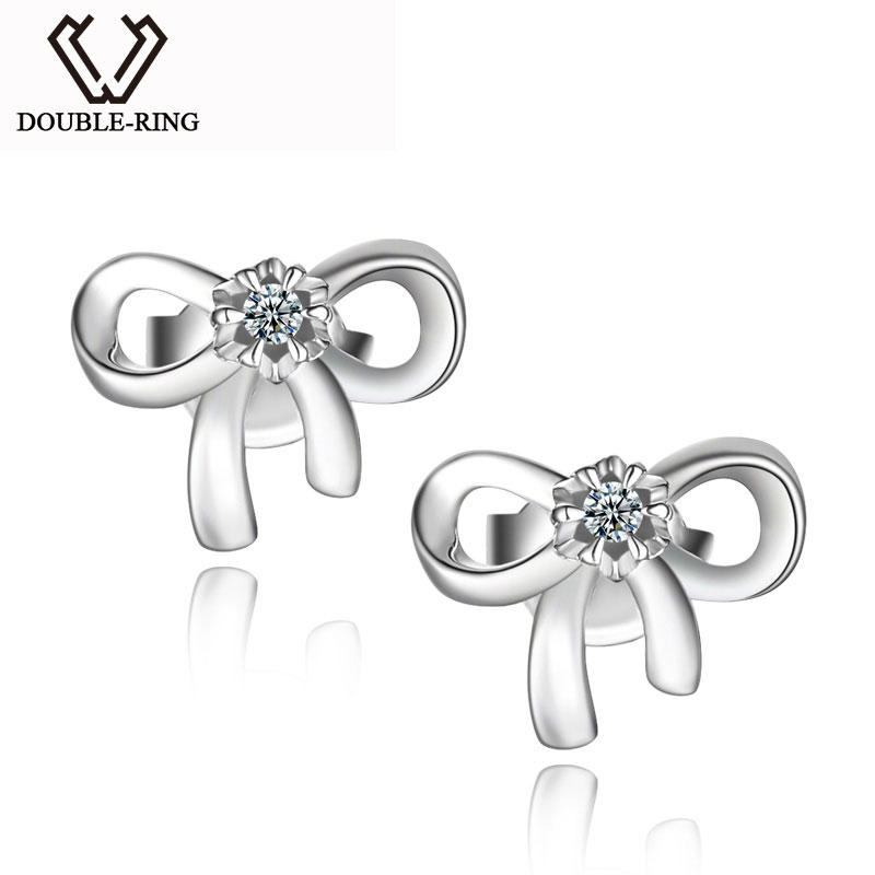 DOUBLE-R Femmes Diamant Boucles D'oreilles 0.04ct Classique Boucles D'oreilles Papillon 925 En Argent Fin Bijoux Personnalisé CAE01814SA