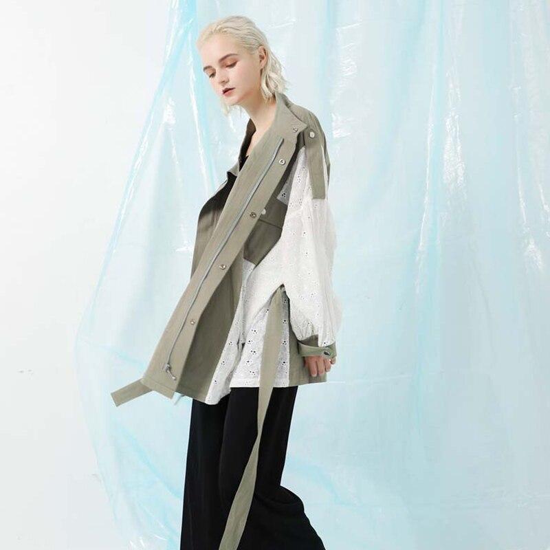 [EAM] 19 New Spring Stand Collar Long Sleeve Back Lace Split Joint Large Size Jacket Women Coat Fashion TideJK291 8