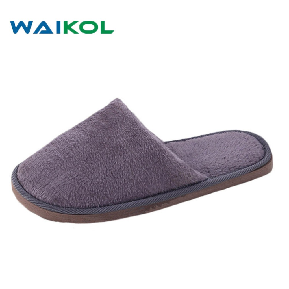 Waikol 25% OFF Men's Slipper Winter Home Men Slippers Indoor Bedroom House Soft Cotton Warm Shoes Male Flats Christmas Gift b i m cute bowknot warm winter women home slippers for indoor house bedroom plush shoes soft bottom flats christmas gift z133