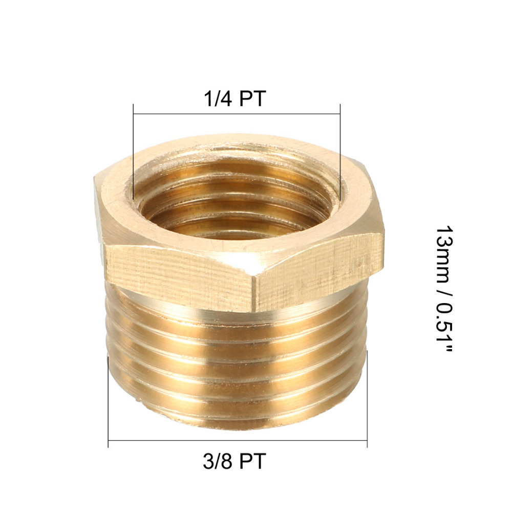 uxcell 5 Pcs 1//4BSP Male Thread Brass Hex Head Pipe Plug Connector Fitting