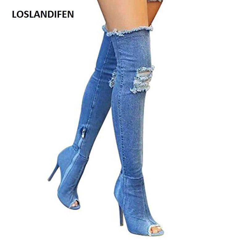 Femmes Trou Denim Bottes D'été Automne Peep Toe Sur Le Genou bottes Qualité Haute Élastique Jeans De Mode Bottes Talons hauts Plus La Taille
