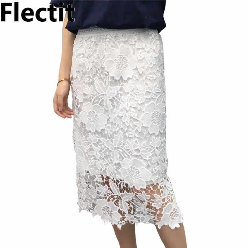 21596c05e0be Flectit Women Vintage White Black Faldas Mujer Casual High Waist Hollow Out  Floral Elegant Lace Midi